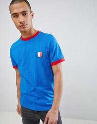 Another Influence Retro Ringer T Shirt France Blue