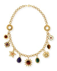 Jose And Maria Barrera Celestial Charm Necklace W Mixed Stones Gold