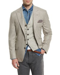 Brunello Cucinelli Peak Lapel Two Button Sport Coat Gravel C001 Grave
