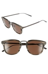 Women's Bottega Veneta 49Mm Retro Sunglasses Ruthenium Ruthenium Brown