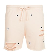 Wildfox Couture Daisy Embroidered Jersey Shorts Pink