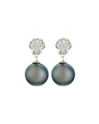 Belpearl Whisper 18K Tahitian Pearl And Diamond Convertible Drop Earrings Gray