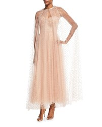 Monique Lhuillier Golden Dot Tulle Floor Length Cape Pink Gold