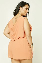 Forever 21 Plus Size Cowl Back Romper Salmon