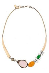 Iosselliani Woman Gold Tone Quartz And Crystal Necklace Brass