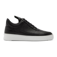 Filling Pieces Black Croc Low Top Ripple Sneakers
