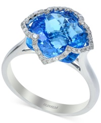 Effy Collection Effy Blue Topaz 7 1 3 Ct. T.W. And Diamond 1 5 Ct. T.W. Clover Ring In 14K White Gold