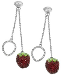 Sis By Simone I Smith Platinum Over Sterling Silver Earrings Crystal Strawberry Drop Earrings