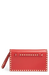 Valentino 'Rockstud' Leather Flap Clutch Red
