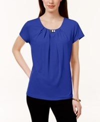 Ny Collection Pleated Hardware Trim Top French Blue
