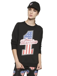 Love Moschino Printed Heavy Cotton Sweatshirt Black