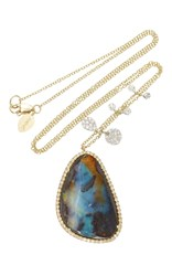Meira T Yellow Gold And Boulder Opal Necklace With White Gold Side Charms Multi
