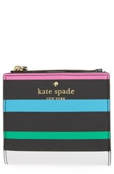 Kate Spade Women's New York Harding Street Fiesta Stripe Adalyn Faux Leather Wallet Black Black Multi