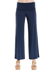 Max Studio Wide Leg Jersey Trousers Navy