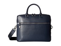 Bugatchi Saffiano Leather Two Tone Briefcase Navy Briefcase Bags