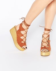 Daisy Street Ghillie Lace Up Wedge Sandals Tan