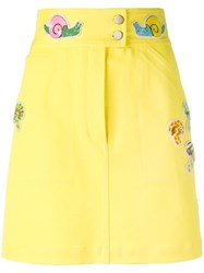 Olympia Le Tan Beaded Patch Fitted Skirt Yellow Orange