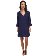 Vince Camuto Collins Luxe Tunic Cover Up Midnight Women's Swimwear Navy