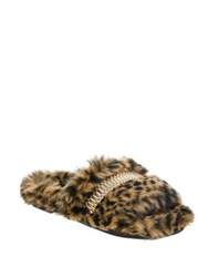 Kendall Kylie Shade Fur Slippers With Watchband Detail Brown