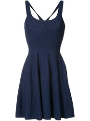 Jay Godfrey Sleeveless Pleated Dress Women Polyester Viscose M Blue
