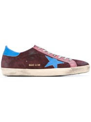 Golden Goose Deluxe Brand Star Print Sneakers Men Cotton Leather Suede Rubber 41 Red