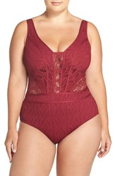 Becca Etc Plus Size Women's Etc. 'Show And Tell' Crochet One Piece Swimsuit Henna