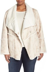 Plus Size Women's Laundry By Shelli Segal Draped Collar Faux Shearling Coat