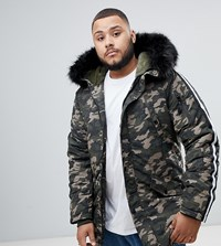 Sixth June Parka Coat In Camo With Black Faux Fur Hood Exclusive To Asos Green