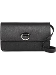 Burberry D Ring Leather Wallet With Detachable Strap Black