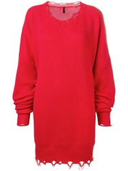 Unravel Project Ripped Ribbed Sweater Dress Red