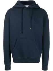 Closed Logo Embroidered Hoodie Blue