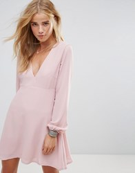 Wyldr Ophellia Tea Dress With Low V Neckline And Tie Sleeves Pink