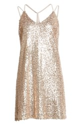 Love Fire Strappy Sequin Slipdress Gold