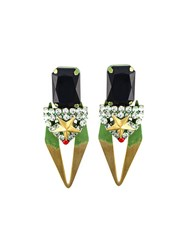 Iosselliani 'Full Metal Jewels' Clip On Earrings Green