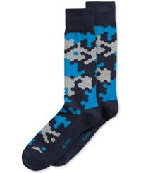 Alfani Men's Abstract Hex Socks Only At Macy's Navy