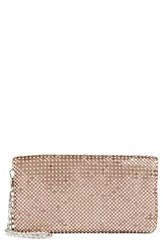 Glint Crystal Mesh Foldover Clutch Metallic Rose Gold