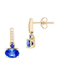 Lord And Taylor Sapphire Diamond 14K Yellow Gold Drop Earrings Blue