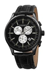 Akribos Xxiv Men's Quartz Chronograph Croc Embossed Watch Black