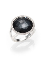 Ippolita Stella Hematite Clear Quartz Diamond And Sterling Silver Medium Doublet Cocktail Ring