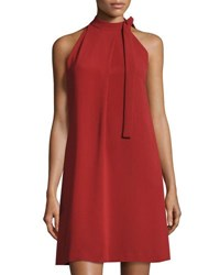 Theory Espere Admiral Tie Neck A Line Dress Red