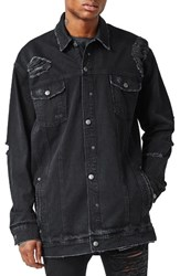Topman Men's Aaa Collection Longline Distressed Denim Jacket Black