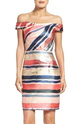 Adrianna Papell Women's Gold Leaf Jacquard Sheath Dress