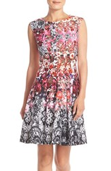 Women's Gabby Skye Mixed Print Scuba Fit And Flare Dress
