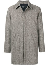 A.P.C. Textured Single Breasted Coat Grey