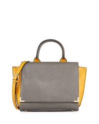 Neiman Marcus Colorblock Winged Flap Satchel Bag Gray Yellow