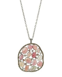 Bavna Long Pink Sapphire And Diamond Pendant Necklace