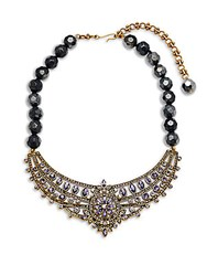 Heidi Daus Beaded Crystal Statement Necklace Purple