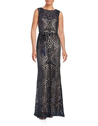 Vince Camuto Sleeveless Geometric Sequined Gown Navy
