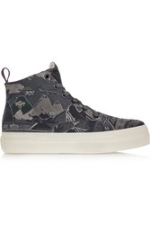 Eytys Odyssey Peshawar Embroidered Twill High Top Sneakers Gray