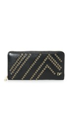 Diane Von Furstenberg Zip Around Continental Wallet Black Gold